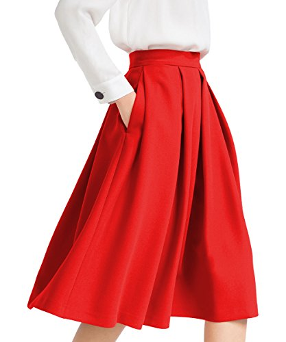 Yige Women's High Waist Flared Skirt Pleated Midi Skirt Pocket