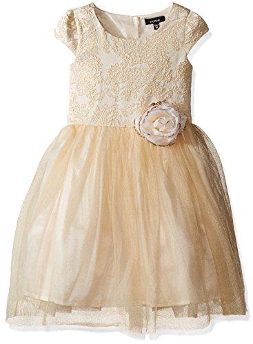 Zunie Little Girls' Toddler Brocade Ballerina Dress, Ivory, 3T (White Brocade Skirt)