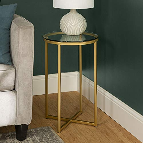 WE Furniture AZF16ALSTGGD Modern Round Side End Accent Table Living Room, Glass/Gold (Side Glass Tables)