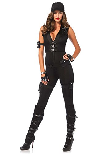Leg Avenue Women's 7 Piece Deluxe Swat Commander Costume, Black, (Swat Costumes For Women)