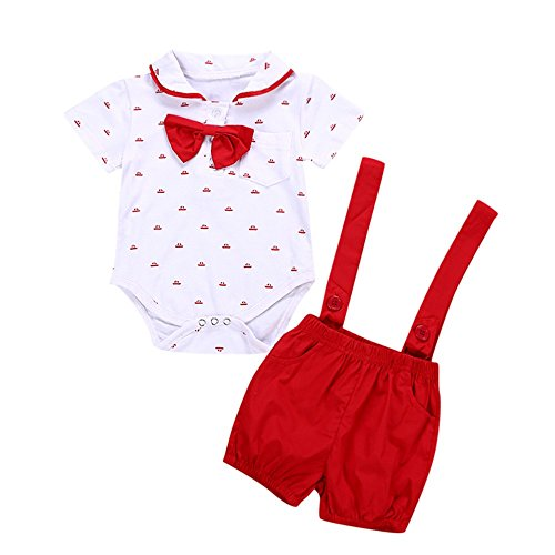 (Baby Infant Bow Tops Print Romper + Strap Shorts for 0-2 Years Old Boys (12-18 Months, Red))