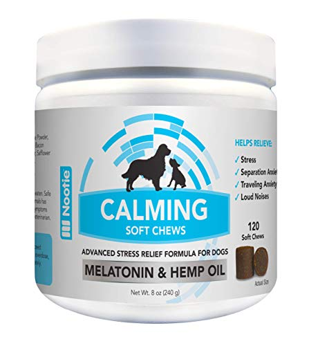 Nootie Calming Treats for Dogs 120CT - Dog Anxiety Relief Organic Passion Flower 150Mg of Hemp Oil for Dogs per Soft Chew Calming Aid for Anxiety Relief for Dogs and Pets Calming Dog Treats