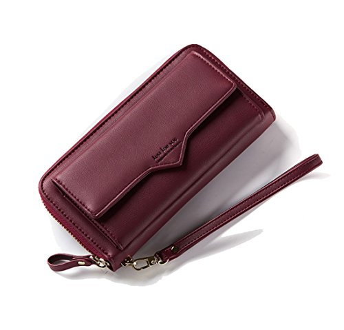 Women Wallet Genuine Leather Clutch Wallet Fashion Card Holder Purse Zipper Handbag Wristlet Strap Front Pocket Smart Phone Winered by Machao