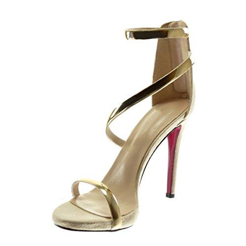 Angkorly Women's Fashion Shoes Sandals Pump Court Shoes - Stiletto - Ankle Strap - Thong - Golden Stiletto High Heel 11 cm Beige CGyArTK