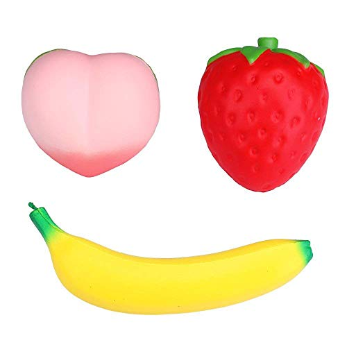 Jumbo Squishy Fruit Colossal Squishies Slow Rising Strawberry Banana Peach Charms Kawaii Squishys Cream Scented Squeeze Stress Relief Toys for Kids and Adults Pack of 3