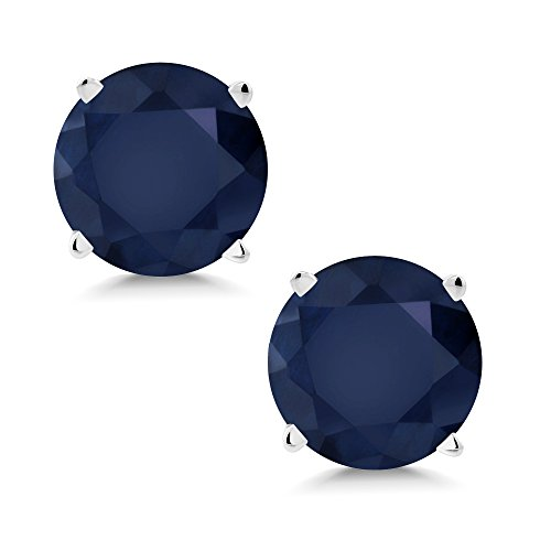 Blue Sapphire Solid 14K White Gold Stud Earrings (Solid Gold Ear Care)