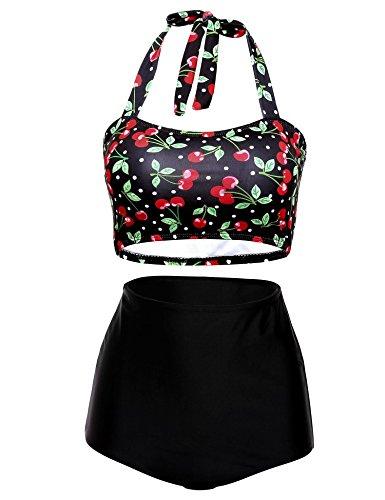 Ekouaer Vintage Women's Floral Printing Halter High Waist Padding Bikini Set (Cherry, L)