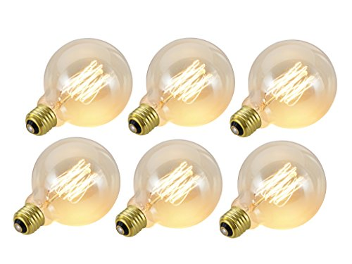 Aspen 6 Light Pendant - Aspen Creative 10002 G30 Vintage Edison Filament Light Bulb, 60 Watt Medium (E26) Base, Clear, 6 Pack