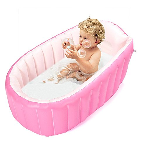 Inflatable Baby Bathtub,Topist Portable Mini Air Swimming Pool Kid Infant Toddler Thick Foldable Shower Basin with Soft Cushion Central Seat (Pink)