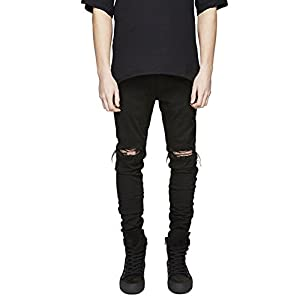 Geurzc Ripped Slim Fit Biker Jeans for Men
