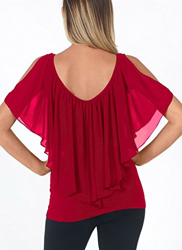 Sexy Corte Scollo a Corte Balze di Maniche Donna Camicie V con Scollatura a a Chiffon V a Rosso Estivi Top Magliette qFXwpHX