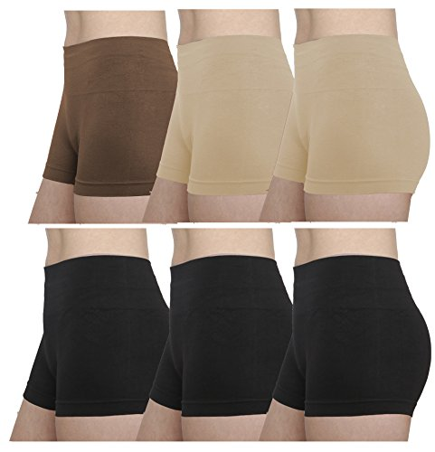 Gilbins GILBIN'S Women Seamless Stretch Boy Shorts Panties Various Styles (Pack Of 6) (High Waisted Black Brown Beige) Style Black Short