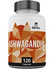 EBYSU Ashwagandha Supplement - 120 Capsules with Black Pepper Extract - Traditionally Used in Ayurveda – Nervine Tonic, Sleep Aid & Memory Enhancement - 650mg Root Powder Pills