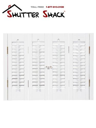 "Interior Shutter Kits 1 1/4"" Louver, Bass Wood (Paint Finish-Snow White, 27-29"" W x 36"" H)"