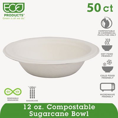 Compostable Sugarcane Dinnerware, 12oz Bowl, Natural White, 50/Pack, Sold as 1 - Dinnerware 12 Oz