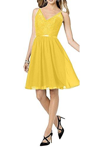 Kleid Gelb Partykleider Spaghetti Spitze Chiffon Mini Traeger Cocktailkleider Charmant Ballkleider Damen Kurz Abendkleider 74wqBnPPU
