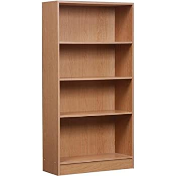 4 Shelf Bookcase in Minimal Design and Classical Style with Adjustable Shelving, Kick Plate and Back Panel