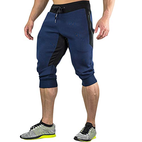 Capri Mens New Pants - MECH-ENG Men's 3/4 Joggers Pants Workout Gym Capri Shorts Zipper Pockets(Navy L/Tag 2XL)