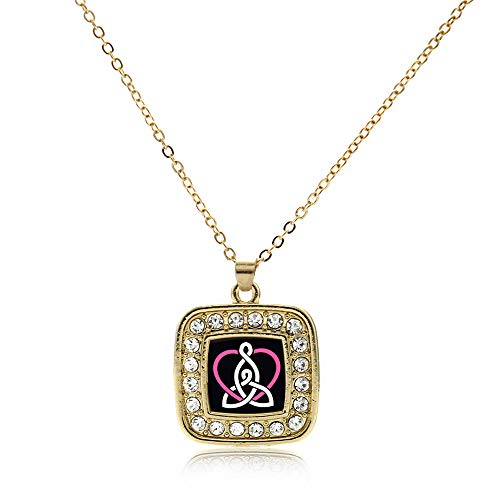 Inspired Silver - Mother and Daughter Celtic Knot Charm Necklace for Women - Gold Square Charm 18 Inch Necklace with Cubic Zirconia Jewelry