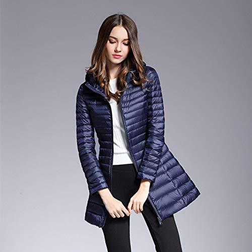Guxiu Veste D'hiver Décontracté Chaud Ultra De Et Long Blue Blanc Duvet 90 Femme Pour Élégant Mince Manteau 4qxvU4rfwB