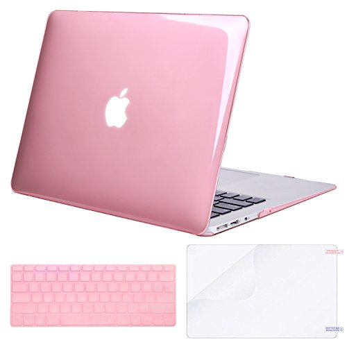 MOSISO Plastic Hard Shell Case & Keyboard Cover & Screen Protector Only Compatible with MacBook Air 13 Inch (Models: A1369 & A1466, Older Version 2010-2017 Release), Crystal Pink