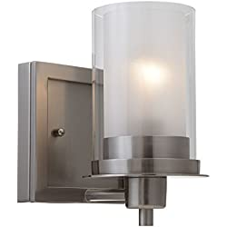 Designers Impressions Juno Satin Nickel 1 Light Wall Sconce / Bathroom Fixture with Clear and Frosted Glass: 73466