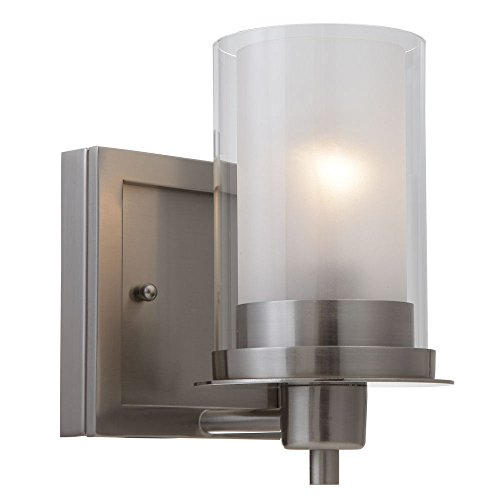 Designers Impressions Juno Satin Nickel 1 Light Wall Sconce / Bathroom Fixture with Clear and Frosted Glass: 73466 ()