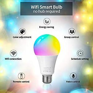 WiFi Smart Bulb Alexa Light Bulbs E27 Screw Colour AISIRER Light Bulb, No Hub Required, Works with Alexa, Google Home…