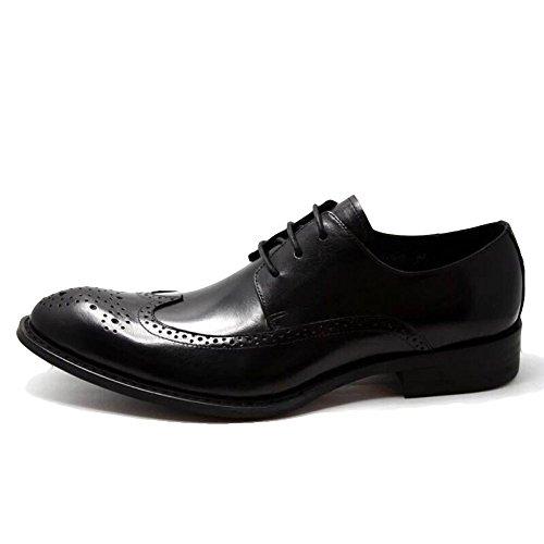 MERRYHE Hommes Chaussures à Bout Pointu En Cuir Brogues Business Formelles Chaussures à Lacets Derby Appartements Pour Le Travail De Soirée De Mariage Black 32bVOW