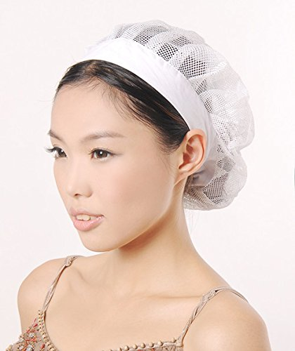 (2 unisex restaurant kitchen hair net Hair Control Cap (white))
