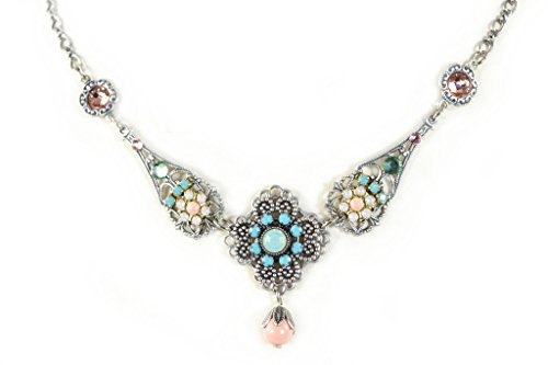 Clara Beau Multicolor Spring Floral Pink Swarovski crystal SilverTone Filigree Necklace (Spring Floral Necklace)