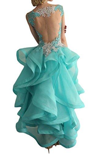 Gorgeous Bride Modisch Rundkragen Hi-Lo Rueckenfrei Satin Tuell Spitze Organza Festkleider Abendkleider Ballkleider