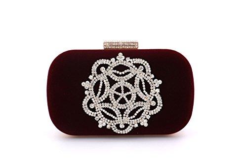 de à Main Banquet de Diamant Haute Sac Sac qualité de FYios Velours Sac Violet Femme Cristal vqE54WUwn