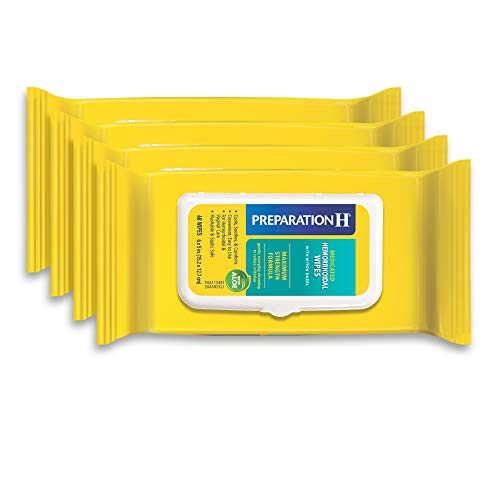 Preparation H Medicated Hemorrhoidal Wipes for Cleansing, Burning, Itch and Irritation Relief, 4 Packs of 48 Count, 192…