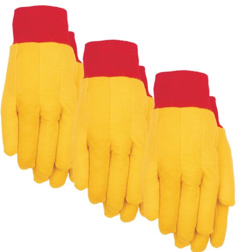 MidWest Gloves 2201P03-XL Mens Yellow Cotton Work Chore Glove, X-Large, 3 Pack