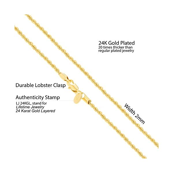 """Lifetime Jewelry Gold Necklaces Women & Men [ 2mm Rope Chain] Up to 20X More 24k Plating Than Other Necklace Chain - Durable Gold Necklace Free Lifetime Replacement Guarantee 16""""-36"""""""