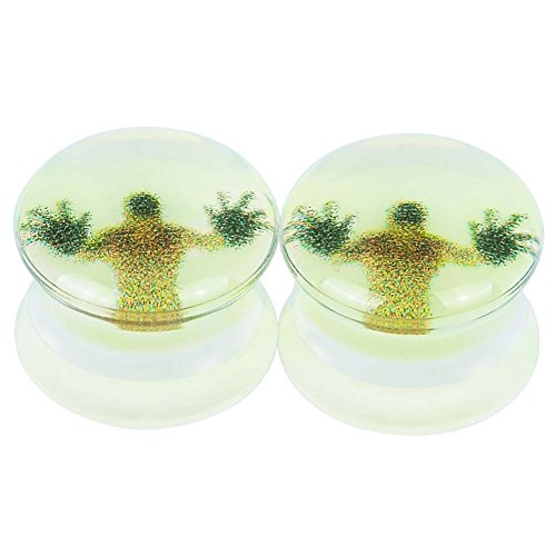 2pcs Glow In Dark Acrylic Ear Gauges Flesh Tunnels Plugs Stretchers Expander Sold As Pair 11/16