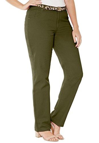Jessica London Women's Plus Size Classic Cotton Denim Straight Jeans Olive by Jessica London