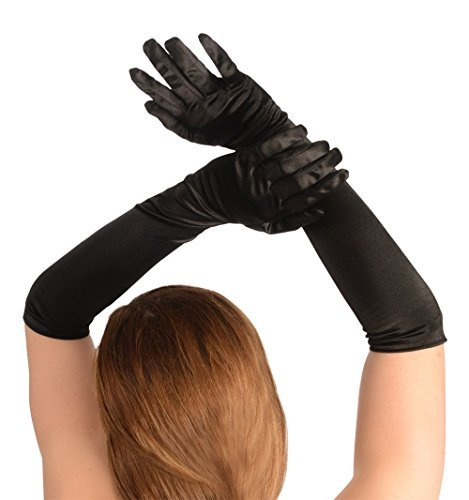 Kangaroo's One Size Elbow Length Black Opera Satin Gloves, Flapper Accessories - http://coolthings.us