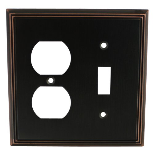 Cosmas 65022-ORB Oil Rubbed Bronze Single Toggle / Duplex Combo Electrical Outlet Wall Plate / Cover