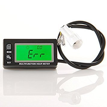 Runleader RL-HM028A Waterproof Inductive Tachometer with Hour Meter Thermometer Backlit Display for All Gasoline Engine ATV Utv Dirtbike Motobike Motocycle Outboards Snowmobile Marine Boat