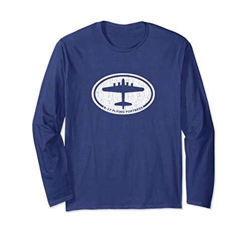 Unisex B-17 Flying Fortress WW2 Bomber Airplane Long Sleeve T-Shirt Large (Bomber Long Sleeve T-shirt)