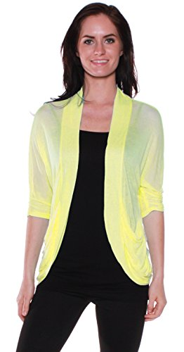 Emmalise Women's Soft Summer Spring Shawl 3/4 Sleeves Shirt Top (Large, Yellow)