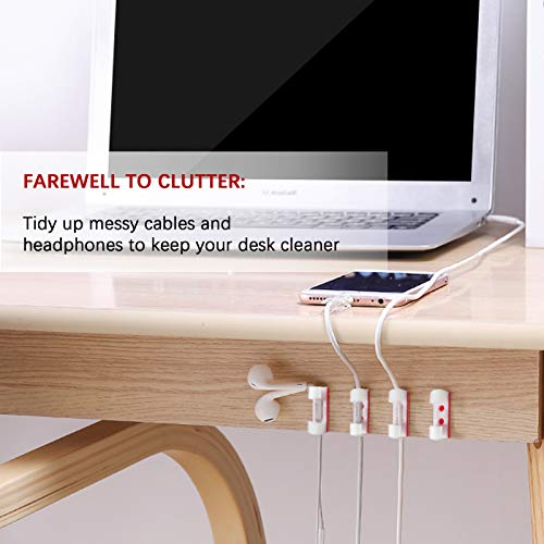 100Pcs Self-Adhesive Cable Clips Clear,Cable Organizer Cord Holder Durable Cord Management for Office and Home,Transparent(White)