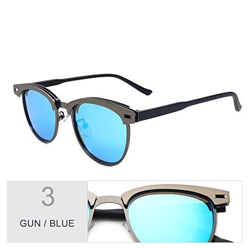 Sol Bastidor Oro Gun La Alta Modo De Reborde Sin Polarizadas Calidad De Aleación Semillas Del De Gafas Sol Blue De De Gris TIANLIANG04 Gafas Mujer zg1Y6Y