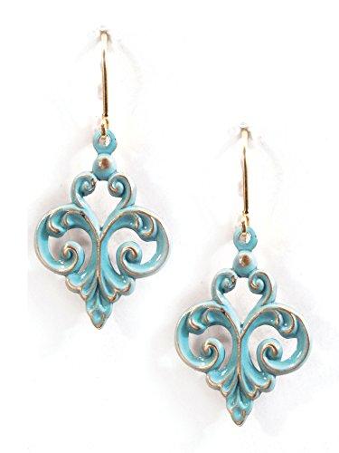 Clara Beau Blue Green Fleur De Lis Patina Enamel plated GoldTone Filigree Earrings ER30