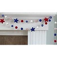 "Swirls and Stars Felt Ball Garland- Red, White, Royal Blue Fourth of July- 1"" (2.5 cm) Wool Felt Balls"