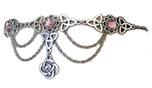 Moon Maiden Jewelry Celtic Triquetra Trinity Knot Draping Chain Headpiece Light Pink ()