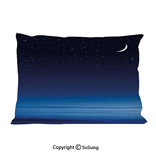 Night Bed Pillow Case/Shams Set of 2,Moon and Stars over Santa Barbara Channel Infinity Foggy Pacific Ocean Decorative Queen Size Without Insert (2 Pack Pillowcase 30