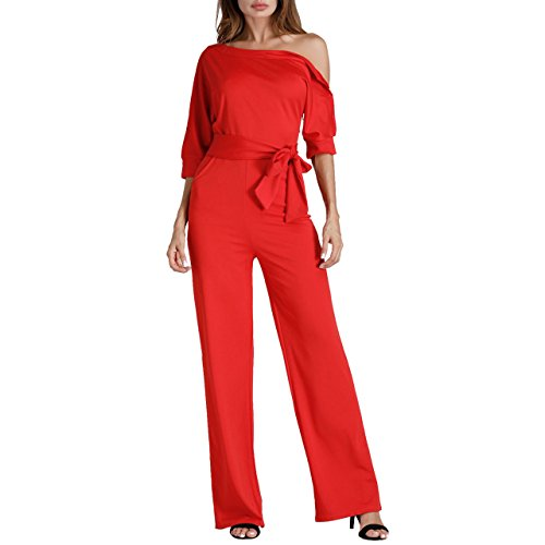 Remelon Womens Elegant One Off Shoulder Pockets Long Wide Leg Club Cocktail Jumpsuit Romper Red L